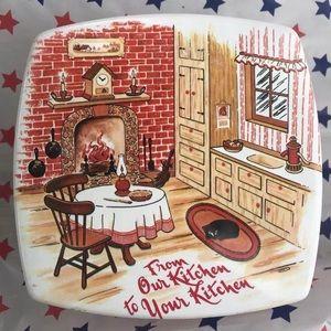 Fruitcake Empty Tin-Log Cabin box Winter Christmas
